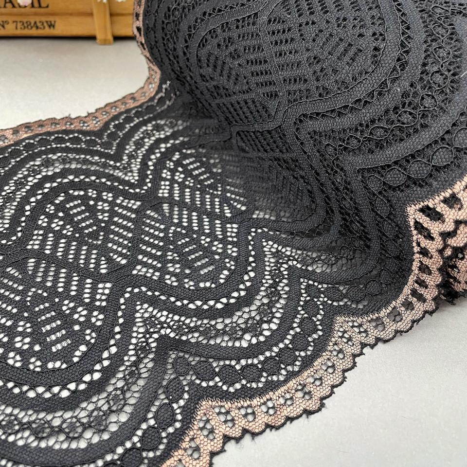 Эластичное кружево Э824 цвет чёрный