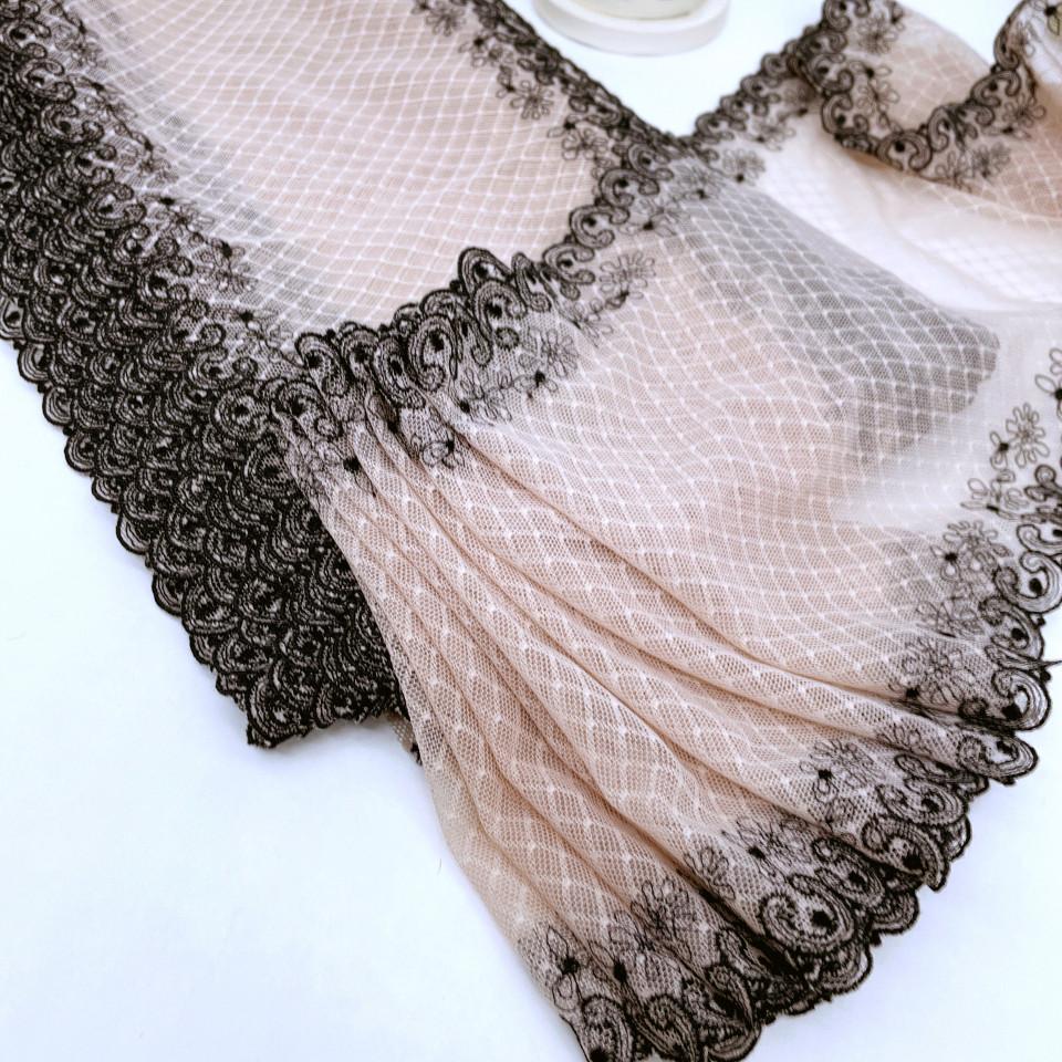 Вышивка на сетке эластичная В901 цвет беж/черный