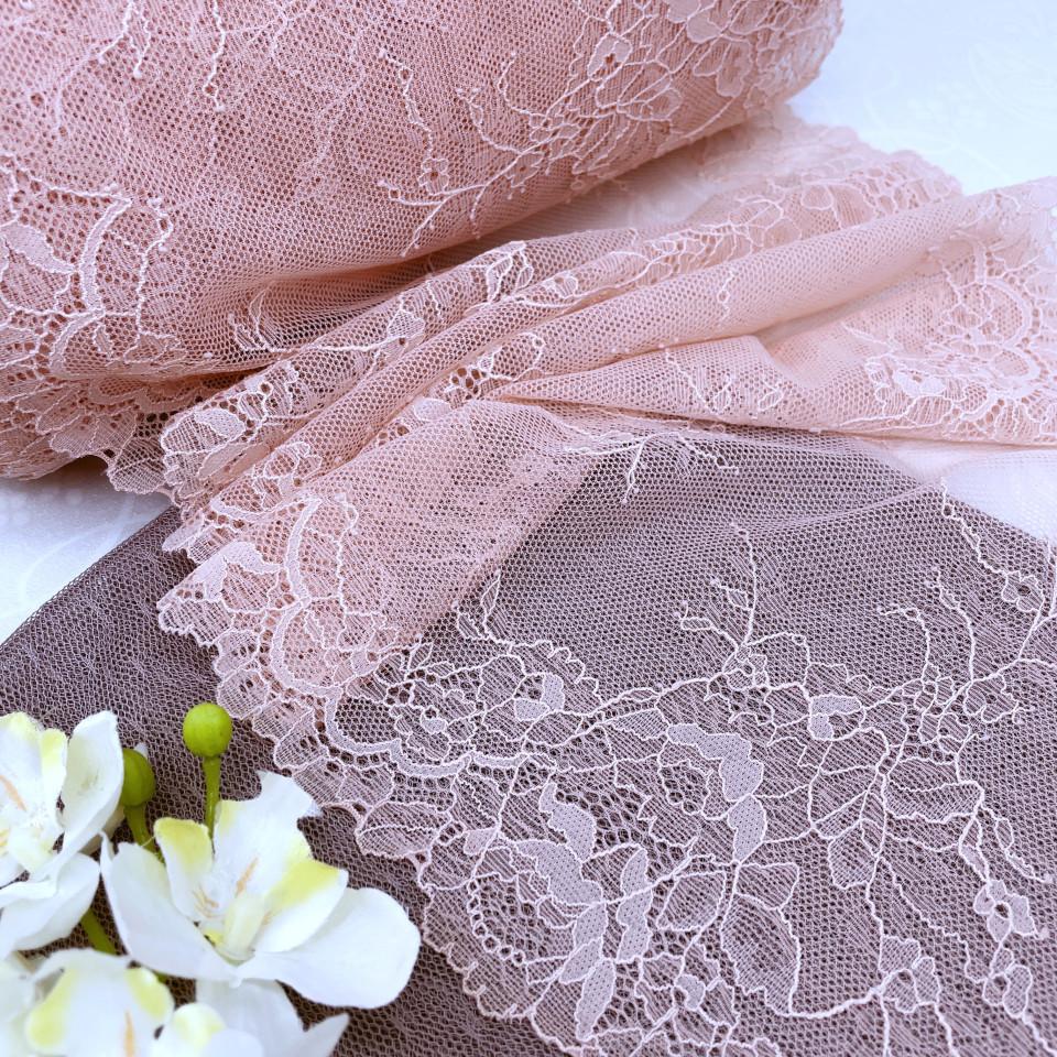 Эластичное кружево Э780 цвет розовая пудра