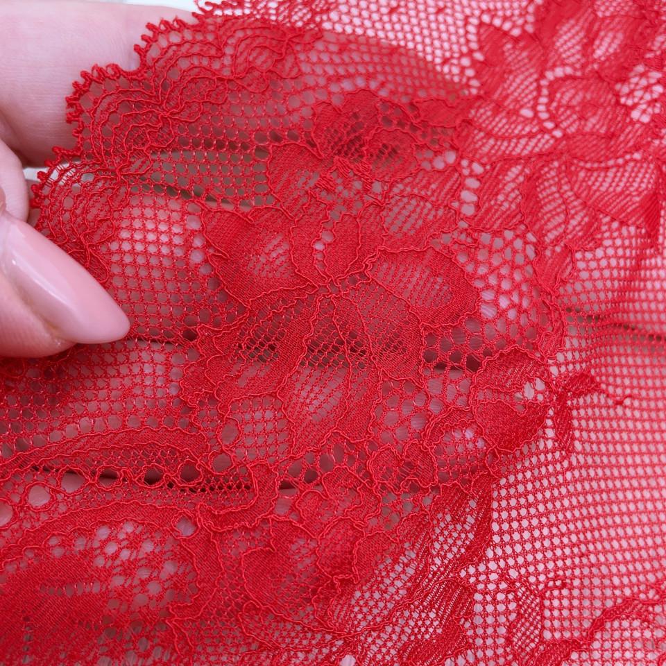 Эластичное кружево Э789 цвет красный (отрез 3,5м)
