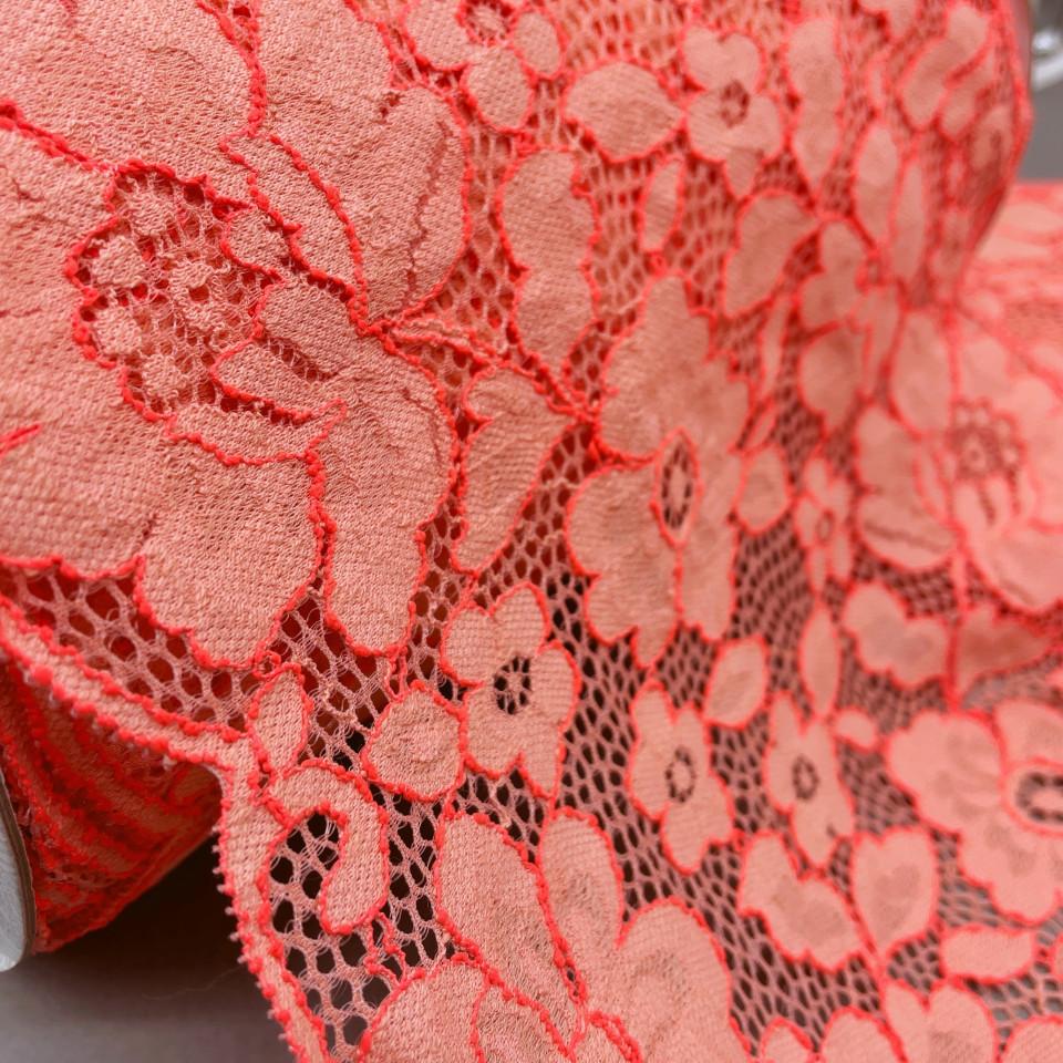 Эластичное кружево Э782 цвет розово/кораллово-неоновый