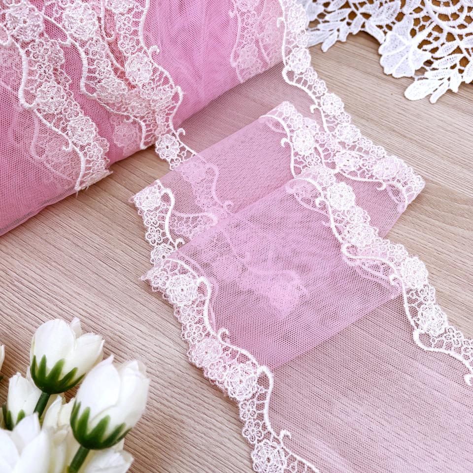 Вышивка на сетке В895 цвет розовый