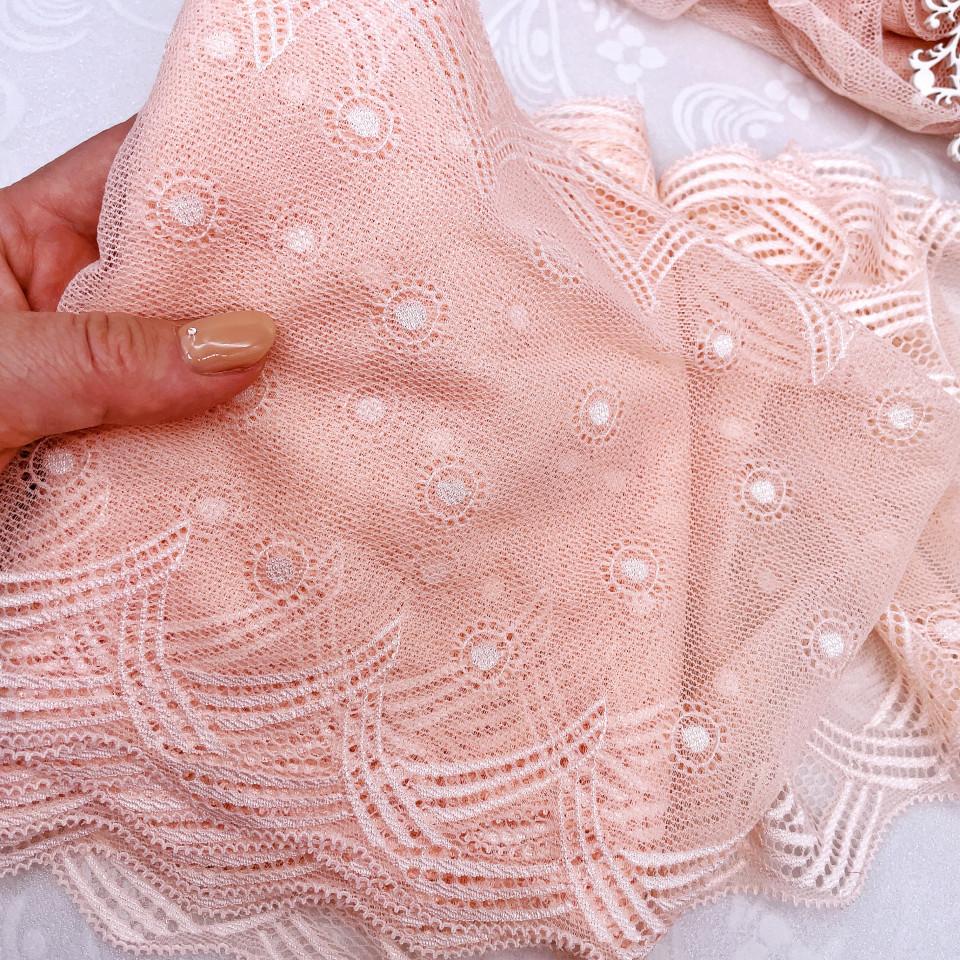 Эластичное кружево Э778 цвет светло-розовый теплого оттенка (отрезы)