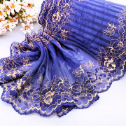 Эластичное кружево Э781 цвет синий/медовый