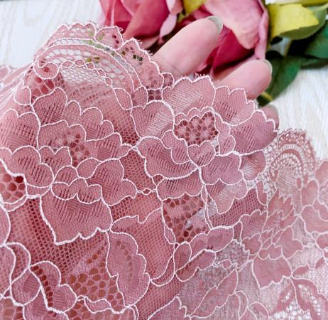 Эластичное кружево Э767 цвет сухой розы. С кордом