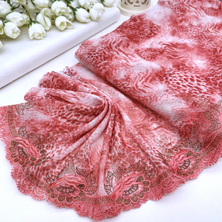 Вышивка на эластичной ткани В898 цвет розово-терракотовый