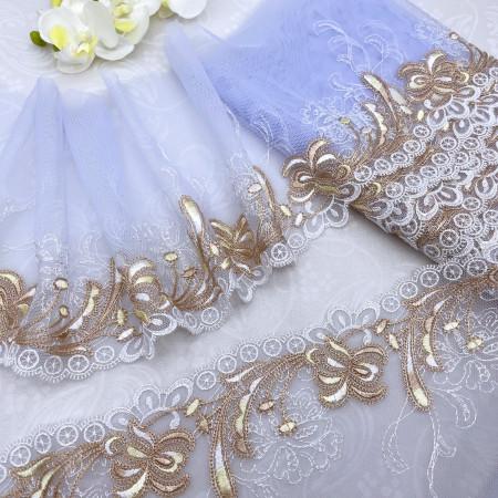 Вышивка на сетке В897 цвет голубой/золото/белый