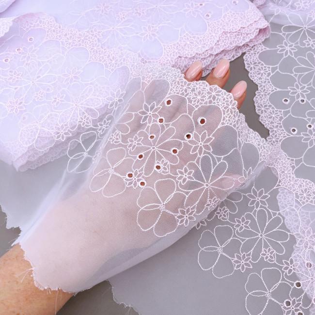 Вышивка на шифоне В893 цвет бледно-розовый