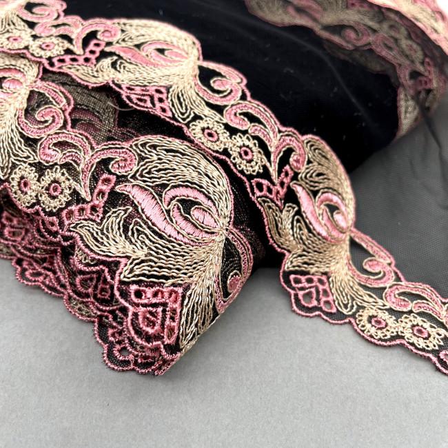 Вышивка на сетке В896 цвет черный