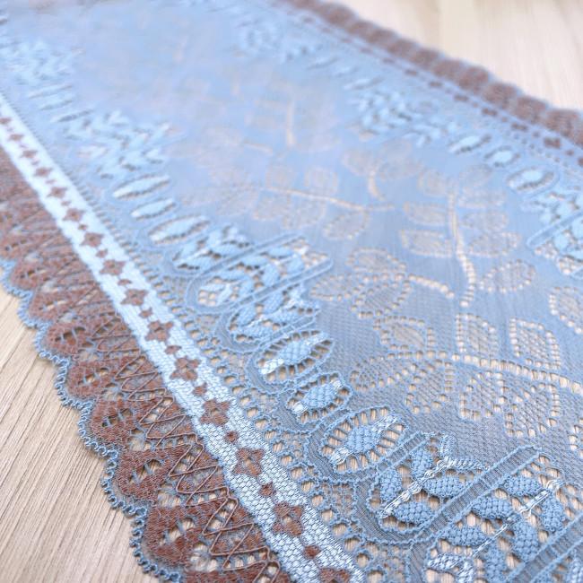 Эластичное кружево Э790 цвет голубой/кофе