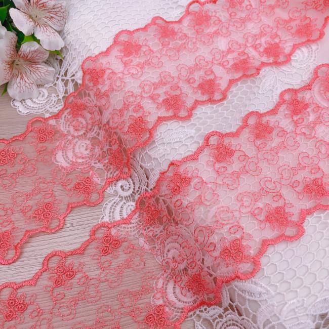 Вышивка на сетке В892 цвет розово-коралловый