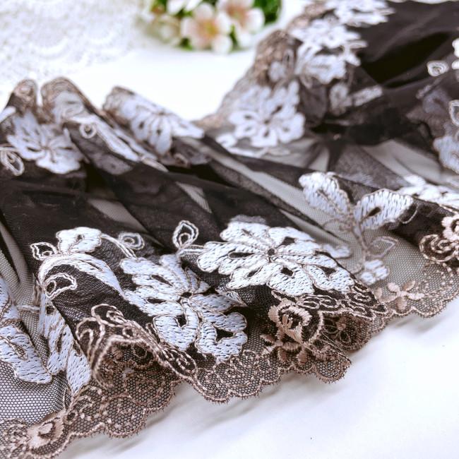 Вышивка на сетке В899 цвет чёрный