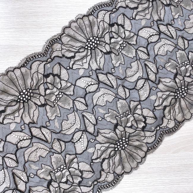 Эластичное кружево Э791 цвет серый с чёрным кордом