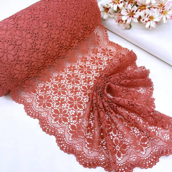 Эластичное кружево Э815 цвет розово-терракотовый